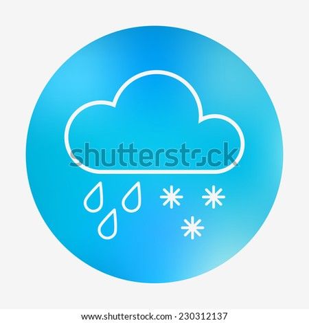 Weather icon on the blurred background. Cloud, raindrops and snowflakes. Vector illustration. Weather forecast application. - stock vector