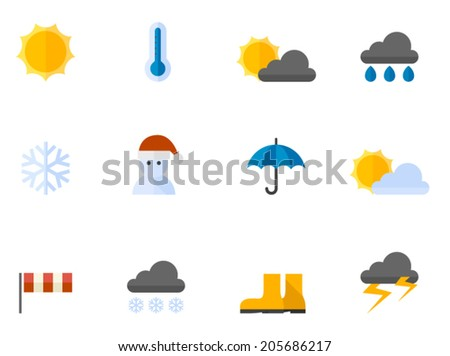 Weather icon series in flat colors style.  - stock vector