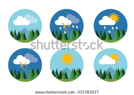 weather icon set flat vector forecast sky cloud sunny thunder - stock vector