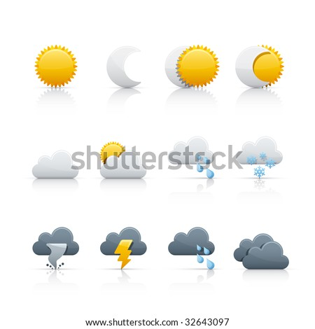 Weather Icon Set for multiple application in Adobe Illustrator EPS 8. - stock vector