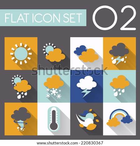 weather icon set in flat style design - stock vector