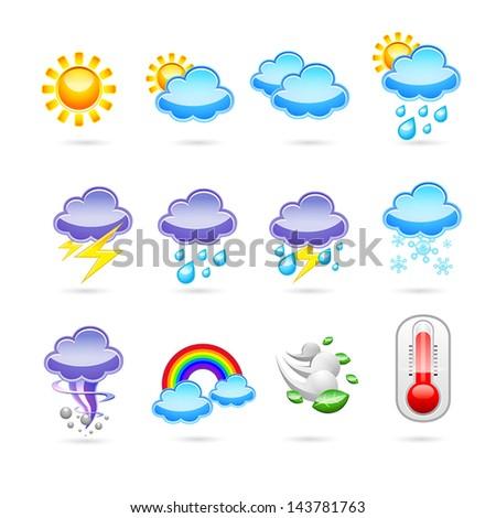 weather icon set, vector - stock vector