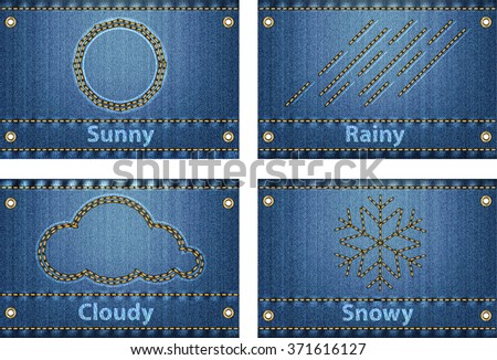 Weather icons and forecast symbols sewed on blue jeans background. Vector illustration - stock vector