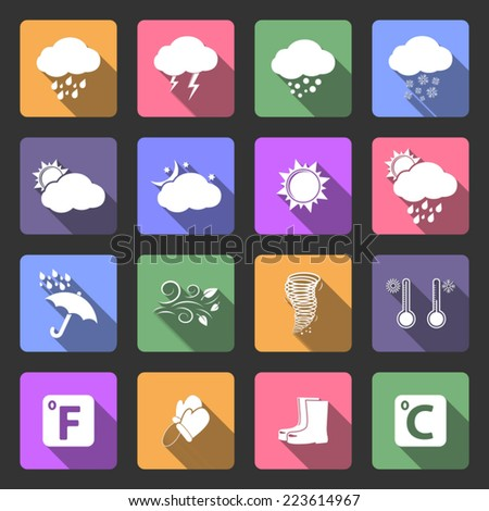 Weather icons, flat design vector - stock vector