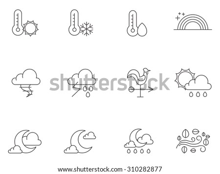 Weather icons in thin outlines. Windy, partly cloudy, storm, forecast - stock vector