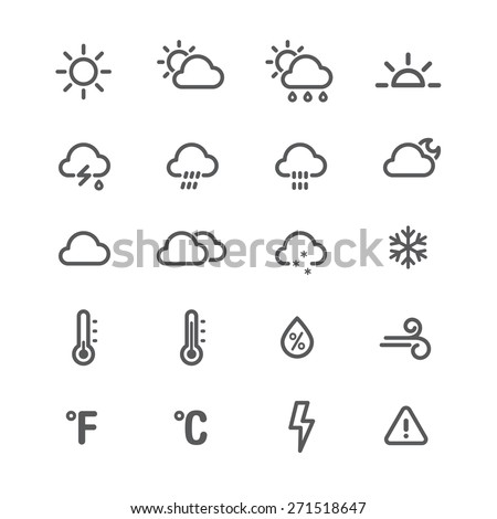 Weather icons. Line series on the white background. - stock vector