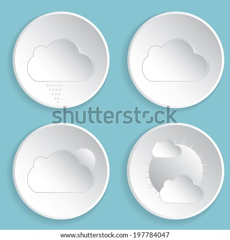 Weather icons on blue background.vector - stock vector