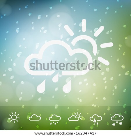Weather Icons on Water drops rain background. Isolated from background. Each icon in separately folder. - stock vector