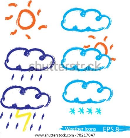 Weather icons set doodle sketch cartoon vector illustration - stock vector