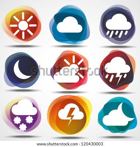 Weather Icons Set. eps10. Image contain transparency and various blending modes - stock vector