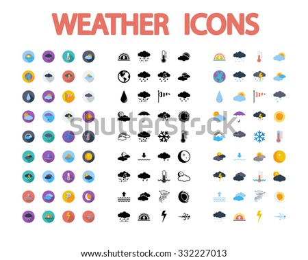 Weather icons set. Flat vector related  different styles icons set for web and mobile applications. It can be used as - logo, pictogram, icon, infographic element. Vector Illustration. - stock vector