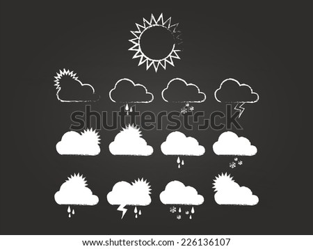 Weather Icons Set On Blackboard - stock vector
