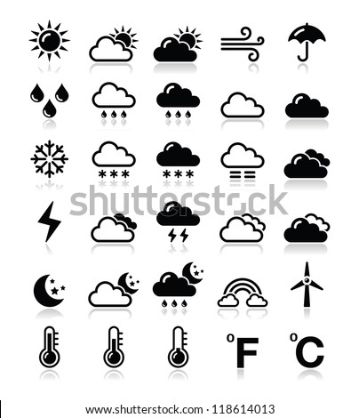 Weather icons set - vector - stock vector