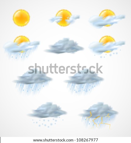 Weather icons set. Vector illustration - stock vector
