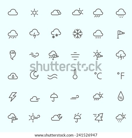 Weather icons, simple and thin line design - stock vector