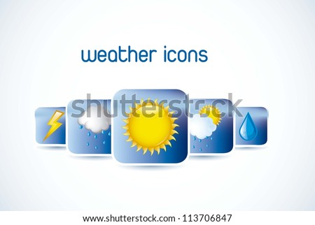 weather icons with shadow over white background. vector - stock vector