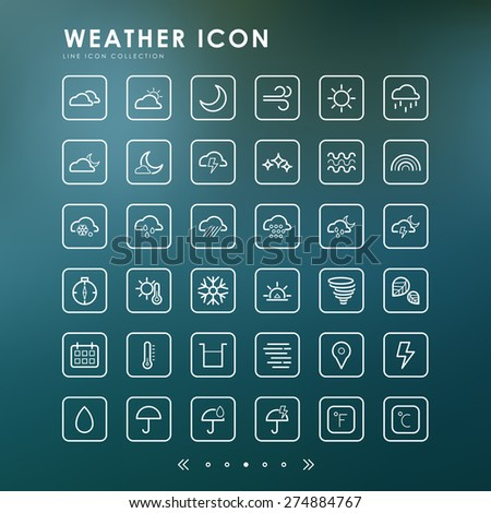weather line icons with blur background - stock vector