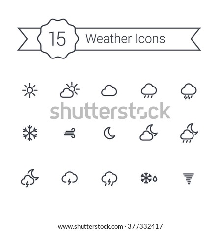 Weather outline icons set. Weather line minimal icons for your app and website. Line con set of weather. - stock vector