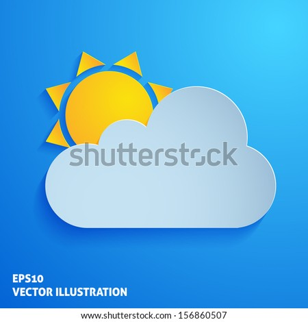 Weather paper icon on blue background - stock vector