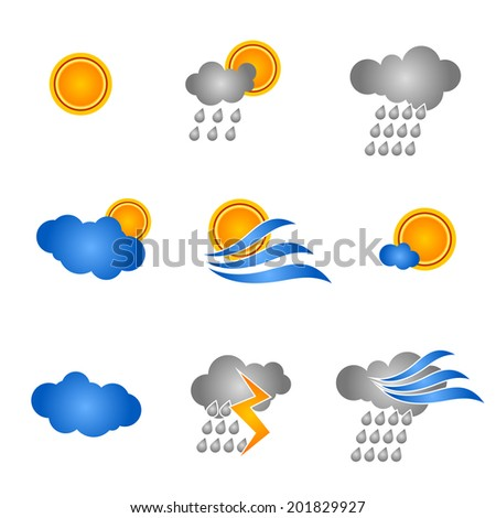 Weather set icons - stock vector