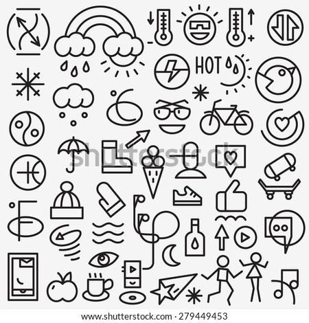 weather summer - set thin line icons  - stock vector