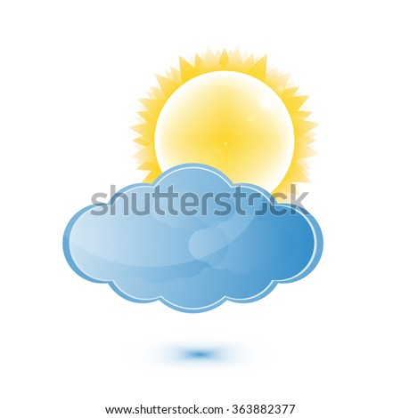 Weather Sun And Cloud Icon - EPS 10 - stock vector
