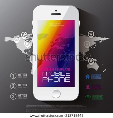 Weather template for computing web and app with white mobile phone and blurred background.  Vector illustration. - stock vector