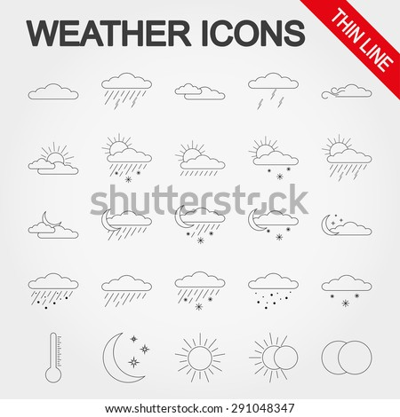 Weather thin line icon set for web and mobile application. Vector illustration on a white background. - stock vector