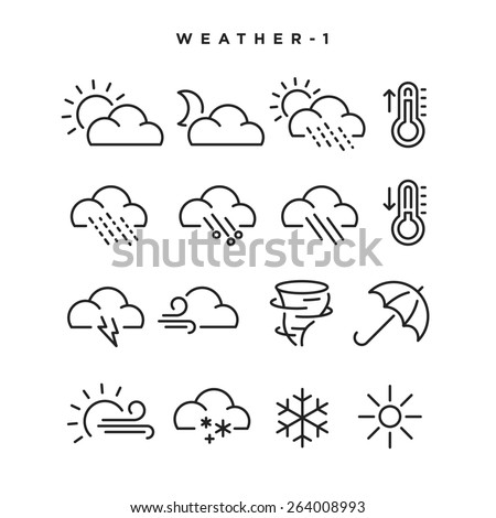 Weather vector icons. Elements for print, mobile and web applications. - stock vector