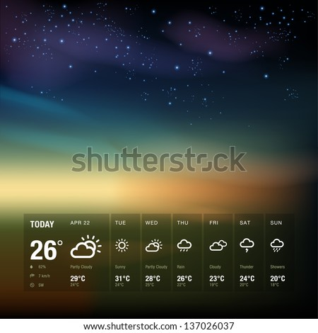Weather widget template and sky background - stock vector