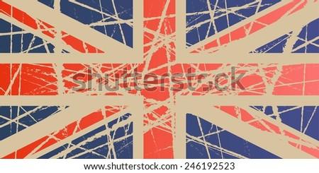 Weathered Flag of UK - stock vector