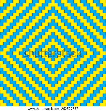 Weave Pattern Blue Yellow - stock vector