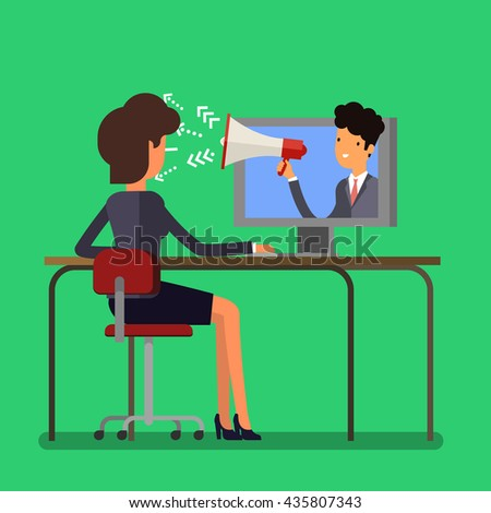 Web advertising and spam concept with cartoon businesswoman and megaphone. Flat design, vector illustration. - stock vector