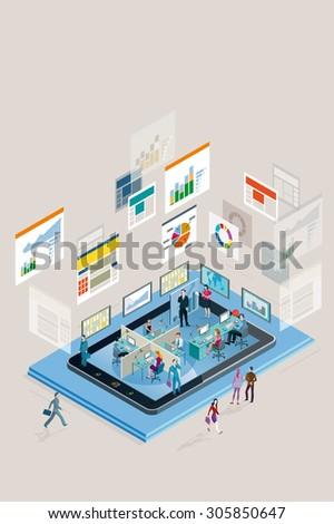 Web analysts working in a company in a smart phone, analyzing graphs, diagram and statistics web. Vertical composition. - stock vector
