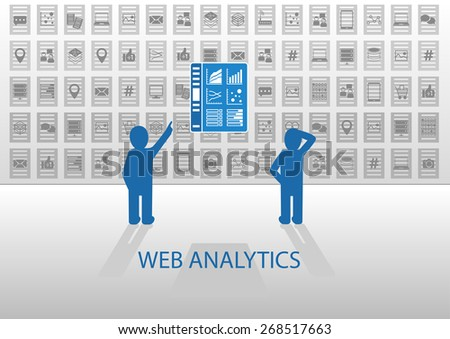 Web analytics vector illustration with online information dashboard. Online data analysis of social media data, mobile data, location data, health data, smart phone data, tablet data. - stock vector