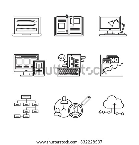 Web and app development, programming and project management icons thin line art set. Design process, working desk, prototyping and mockups. Black vector symbols isolated on white. - stock vector