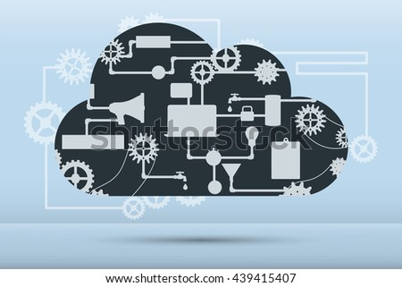 Web and application development flat banner with icons. Abstract vector concept of cloud computing with many graphic icons which form a cloud shape. - stock vector