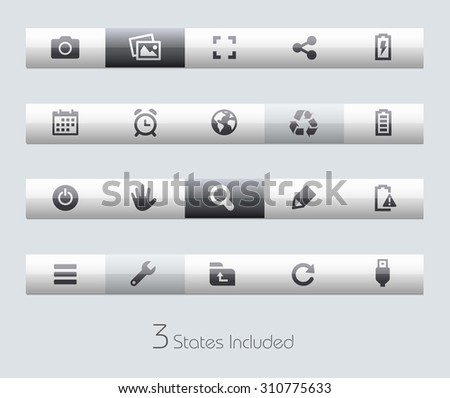 Web and Mobile 3 // Classic Bars +++ The vector file includes 3 buttons states in different layers. +++ - stock vector