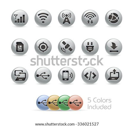 Web and Mobile Icons 6 // Metal Round Series -- The vector file includes 5 color versions for each icon in different layers. - stock vector