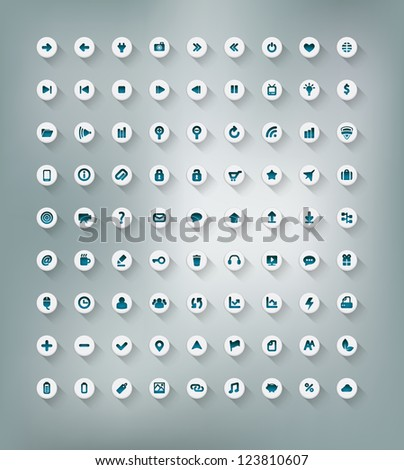 Web and office icon set isolated on background - stock vector