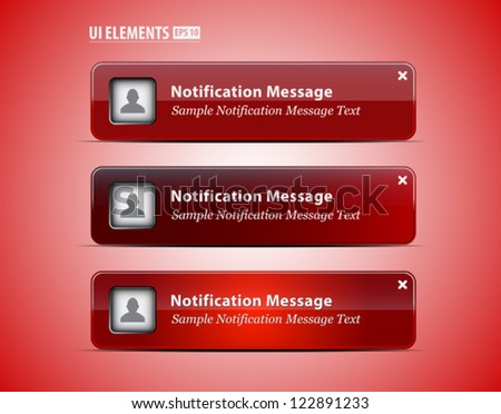 Web and UI Notification Message Window. Vector Web and UI elements - stock vector