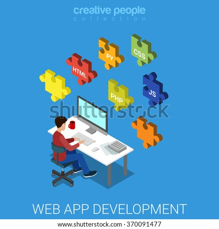 Web application software frontend backend database development code programming. Flat 3d isometric technology concept vector. Programmer developer workplace puzzle HTML CSS JS JavaScript PHP PY Python - stock vector