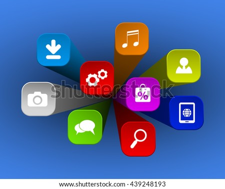 web apps icons on 3d background - stock vector