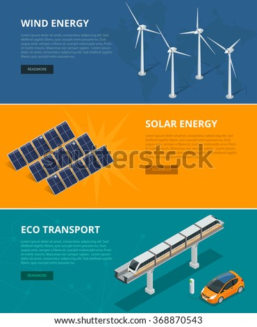 Web backgrounds eco power sources such as wind turbines, solar panels, eco transport. Ecological low and zero emission renewable electricity power energy generation devices.  - stock vector