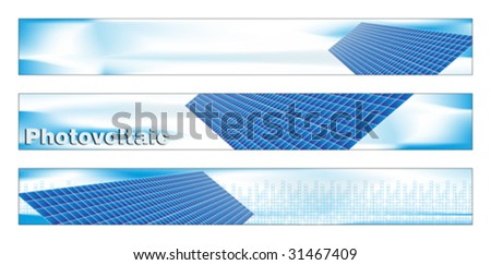 Web banner, business card, label or insignia for green energy project - stock vector