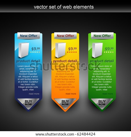 web banner showing products rate with purchase button - stock vector