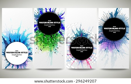 Web banners collection, abstract flyer layouts. Set of colorful flyers with  watercolor stains and place for text, vector illustration templates. - stock vector