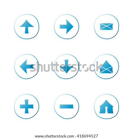 Web blue gradient icons set. Hand-drawn round buttons. Isolated. Vector illustration. Arrows, Letters, Home, Plus, Minus - stock vector