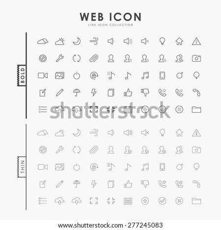 web bold and thin outline icons - stock vector