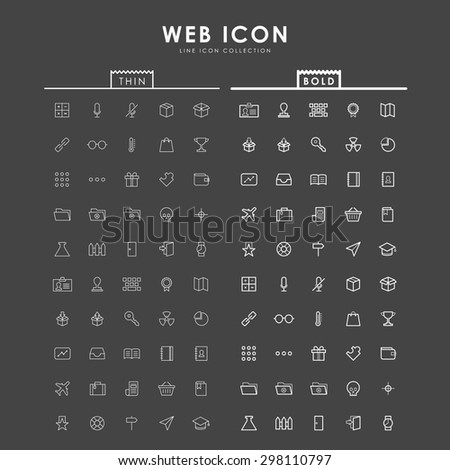 web-bold-and-thin-outline-icons - stock vector